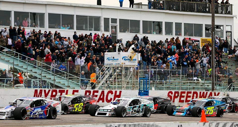 MYRTLE BEACH, SC - MARCH 16: The wave lap before the NASCAR Whelen Modified Performance Plus 150 presented by Safety-Kleen on March 16, 2019 at Myrtle Beach Speedway in Myrtle Beach, South Carolina. (Adam Glanzman/NASCAR)