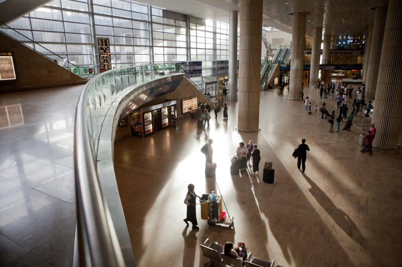 Passengers are seen athe arrival terminal in Ben Gurion Air Port in Tel Aviv, Saturday, April 14, 2012. A coordinator of a mass fly-in of pro-Palestinian activists into Israel's main airport say airlines have canceled flights for at least 100 people. (AP Photo/Dan Balilty)
