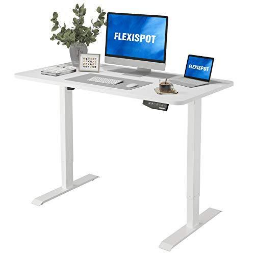 Flexispot EN1 Electric Stand Up Desk Workstation with 48 x 30 Inches Whole-Piece Desktop Ergono…