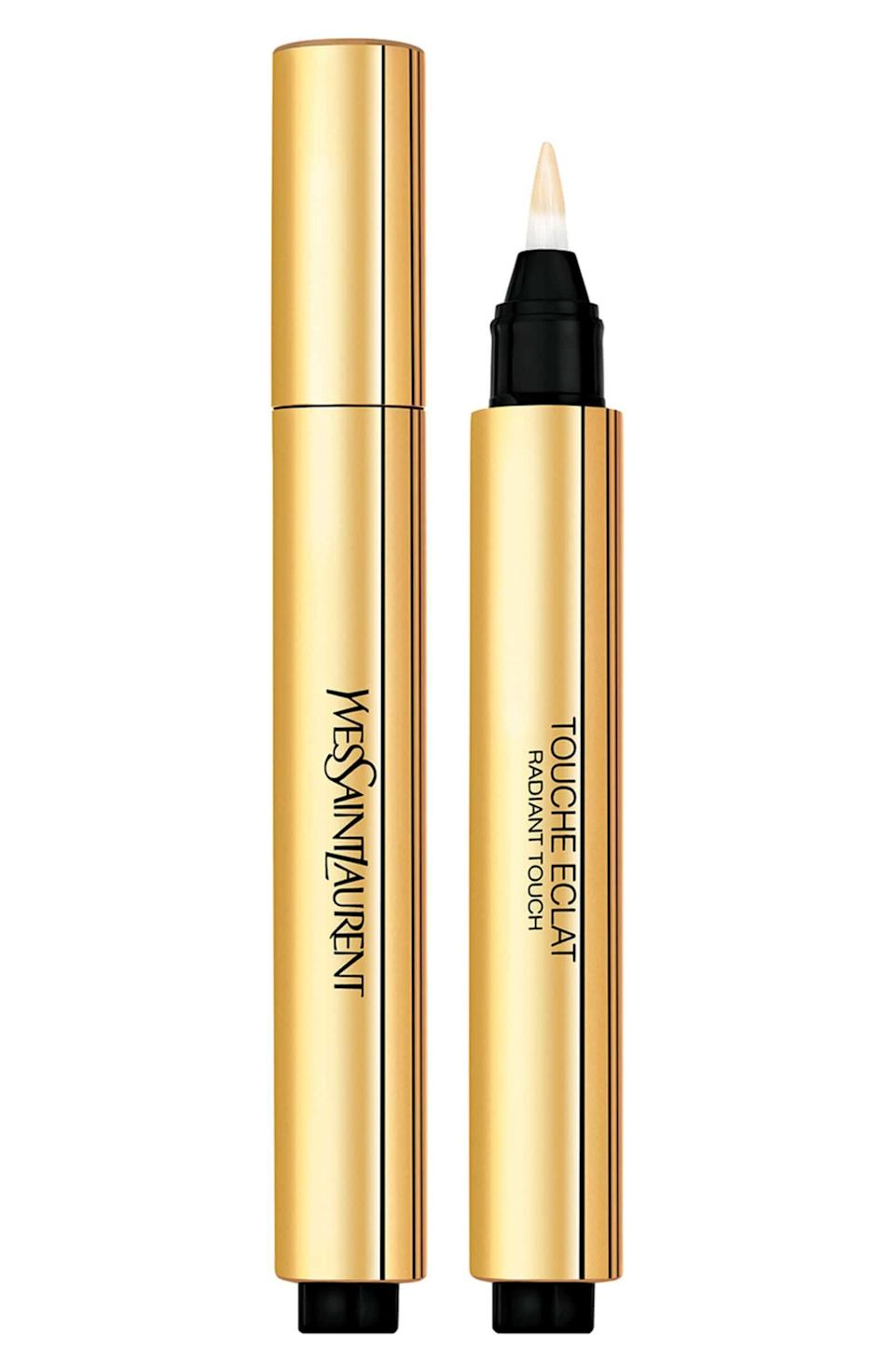 """Markle once told <a href=""""https://www.allure.com/story/meghan-markle-suits-beauty-tips?verso=true"""" target=""""_blank"""" rel=""""noopener noreferrer"""">Allure</a> YSL's Touche Eclat concealer was part of her five-minute makeup routine.<strong><br /><a href=""""https://shop.nordstrom.com/s/yves-saint-laurent-touche-eclat-radiant-touch/2797674"""" target=""""_blank"""" rel=""""noopener noreferrer""""><br />Yves Saint Laurent Touche Eclat Radiant Touch concealer</a>, $38</strong>"""