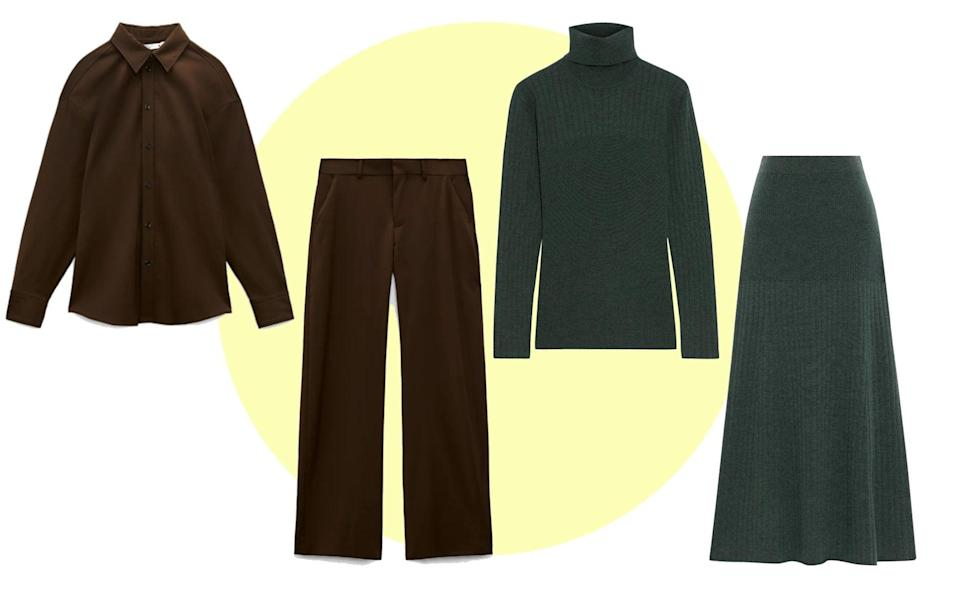 Shirt, £49.99; and trousers (£49.99, Zara); Iris & Ink knit, £145; and skirt (£165, The Outnet)