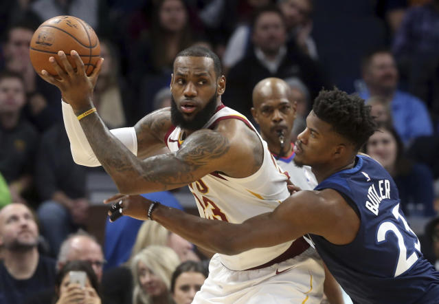 "<a class=""link rapid-noclick-resp"" href=""/nba/players/3704/"" data-ylk=""slk:LeBron James"">LeBron James</a> got a nice first-half block, but not much else in a loss at Minnesota on Monday. (AP)"