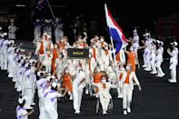 <p>The ceremony included a Parade of Nations, with France (pictured here) marching proudly as they'll be the next to host a Summer Games.</p>