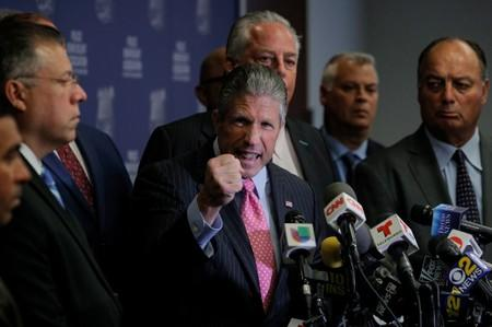 Patrick Lynch, president of the Patrolmen's Benevolent Association of New York City, speaks during a news conference in New York