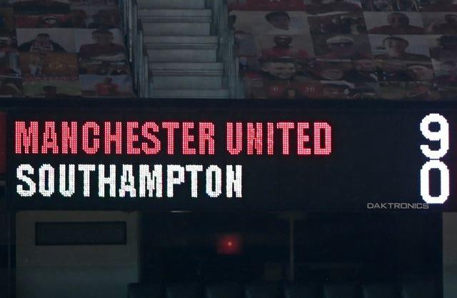 The scoreboard showing the final score at Old Trafford in February