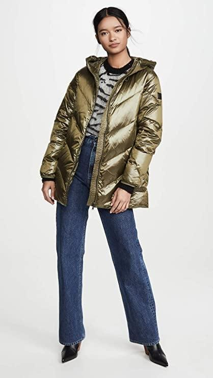 <p>Be bold and rock this cool metallic <span>Woolrich Magnolia Hooded Jacket</span> ($248).</p>