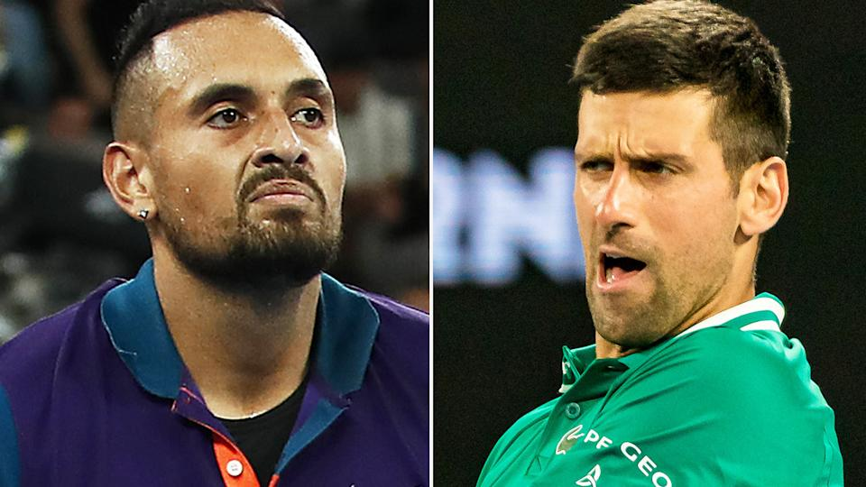Nick Kyrgios has once again called out Novak Djokovic over his use of a medical timeout. Pictures: Getty Images