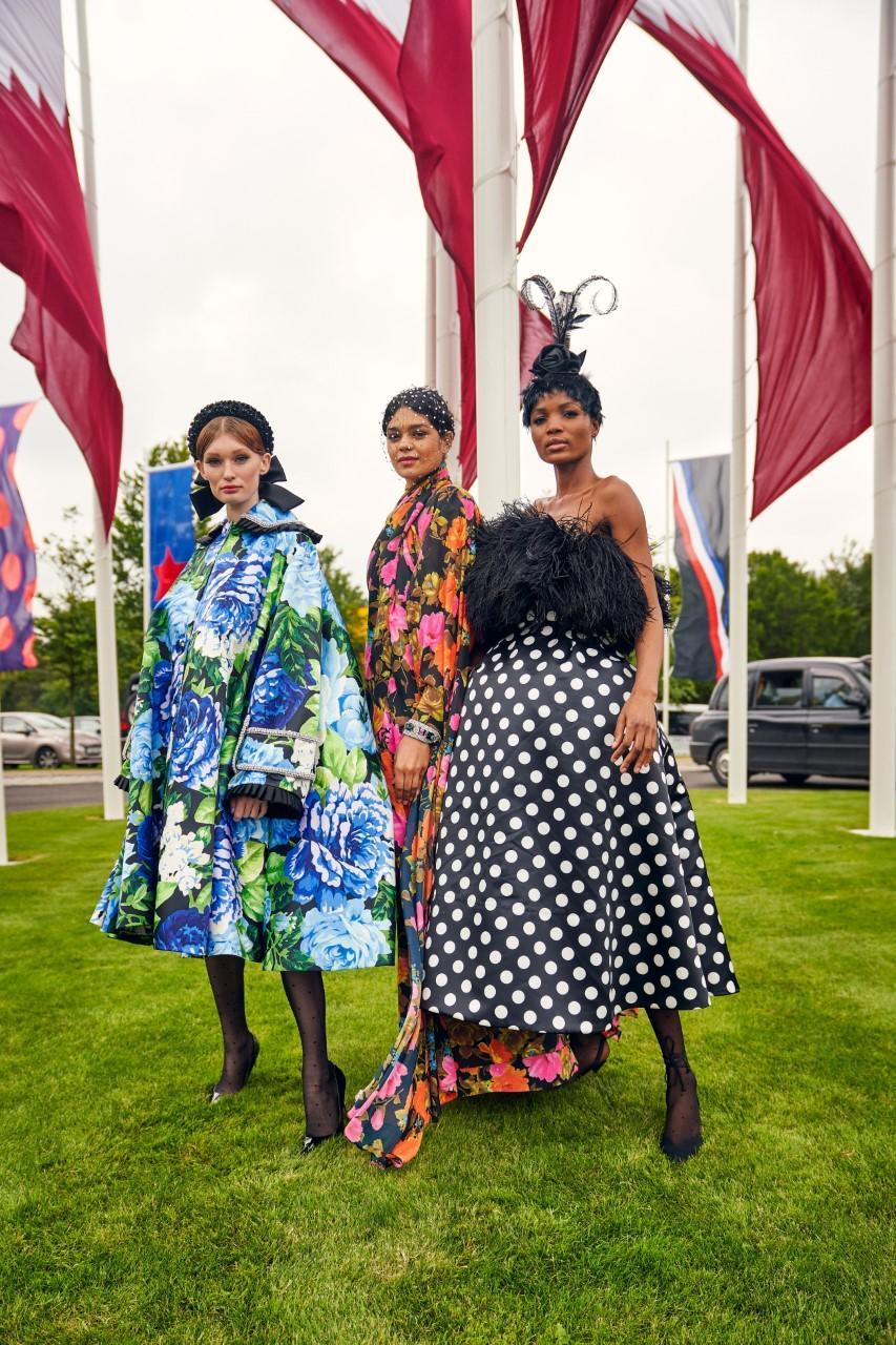 Models wearing Richard Quinn's creations inspired by Goodwood's heritage. - Credit: Courtesy/Dominic James