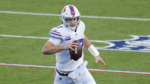Buffalo Bills quarterback Josh Allen (17) runs the ball during the second half of an NFL football game against the Los Angeles Chargers, Sunday, Nov. 29, 2020, in Orchard Park, N.Y. (AP Photo/Jeffrey T. Barnes)
