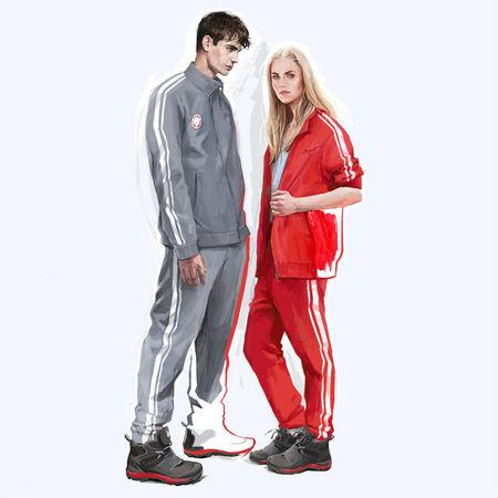 A sketch provided by ZASPORT, the official clothing supplier to the Russian Olympic Committee, on January 18, 2018 shows design for neutral uniform for Russian athletes competing at 2018 Winter Olympics. ZASPORT/Handout via REUTERS