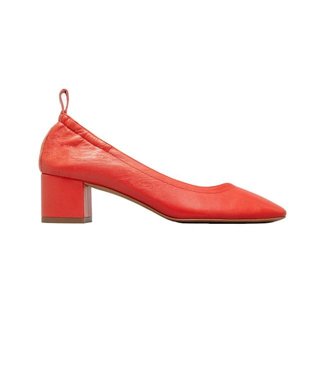 "<p>The Day Heel, $145, <a href=""https://www.everlane.com/products/womens-day-heel-brightred?collection=womens-shoes"" rel=""nofollow noopener"" target=""_blank"" data-ylk=""slk:everlane.com"" class=""link rapid-noclick-resp"">everlane.com</a> </p>"