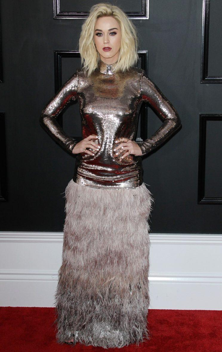 <i>Katy wore Tom Ford on the red carpet [Photo: Rex]</i>