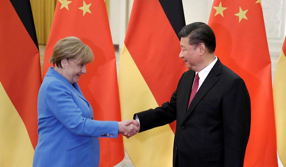German Chancellor Angela Merkel meets China's President Xi Jinping at the Great Hall of the People in Beijing in May 2018. Photo: Reuters