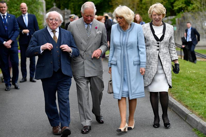 (L-R) Ireland's President, Michael D. Higgins, Prince Charles, Prince of Wales, Camilla, Duchess of Cornwall and the President's wife Sabina Coyne visit the Glencree Centre (Getty Images)
