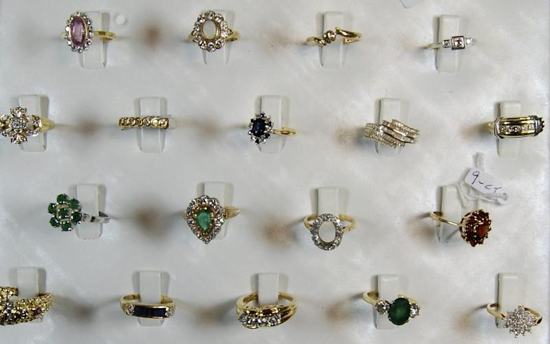Jewellery recovered during the investigation into the burglary at the safe deposit centre in Hatton Garden, London - AFP