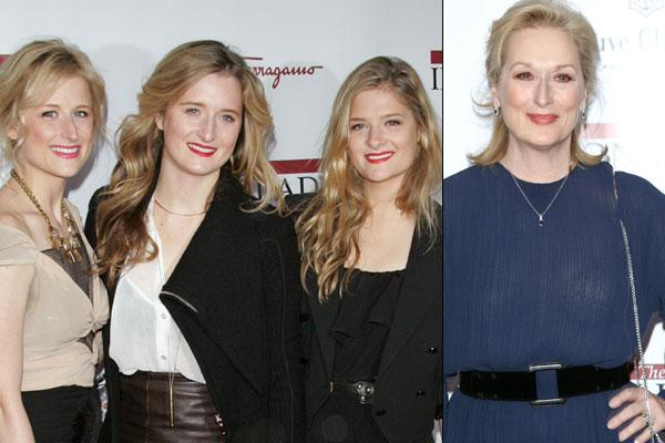 "Meryl Streep wasn't alone at the premiere of her new movie, ""The Iron Lady."" Streep was joined by her lookalike daughters, Mamie, Grace, and Louisa Gummer. (Getty Images)"