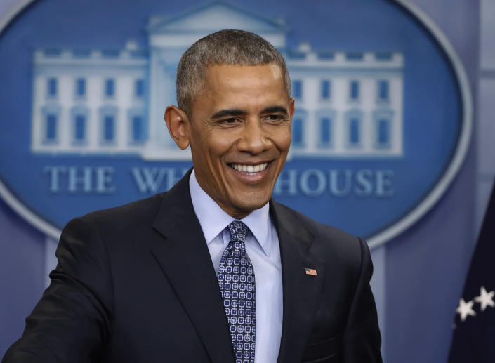 """FILE - In this Jan. 18, 2017 file photo, President Barack Obama smiles during his final presidential news conference in the briefing room of the White House in Washington. More than a dozen """"60 Minutes"""" interviews with Obama, beginning when he was a U.S. Senator, have been compiled into an audio release, """"Barack Obama: The 60 Minutes Interviews"""" coming out Oct. 13. (AP Photo/Pablo Martinez Monsivais, File)"""