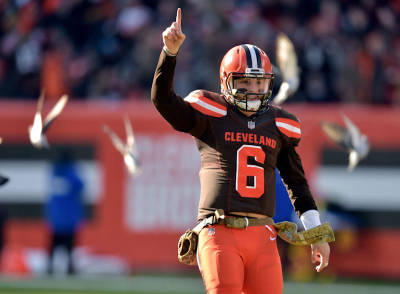 Fans will have the opportunity to see Cleveland Browns quarterback Baker Mayfield (6) in primetime this season. (AP)