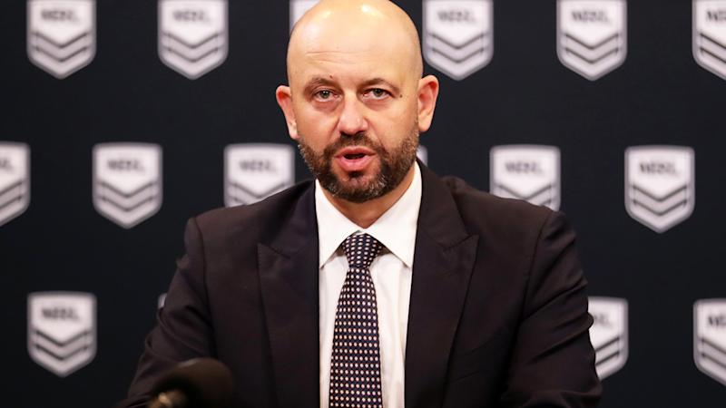 NRL CEO Todd Greenberg, pictured here speaking to the media in Sydney.