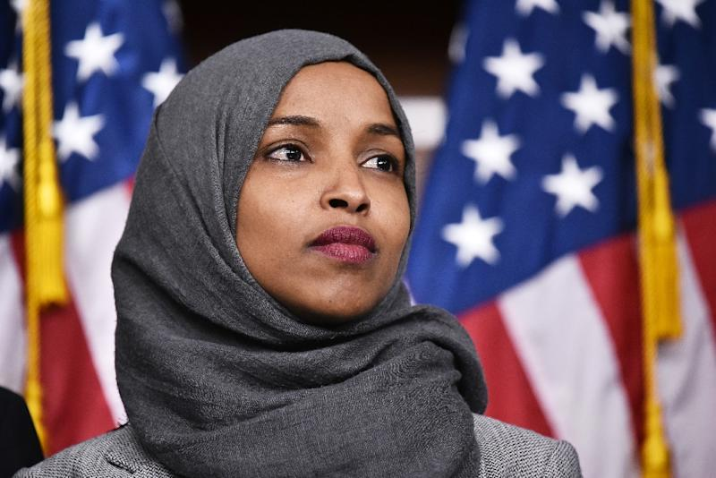 Ilhan Omar, one of the first female Muslim members of the US Congress, is at the center of an acrimonious debate about how to address criticism of Israel (AFP Photo/MANDEL NGAN)