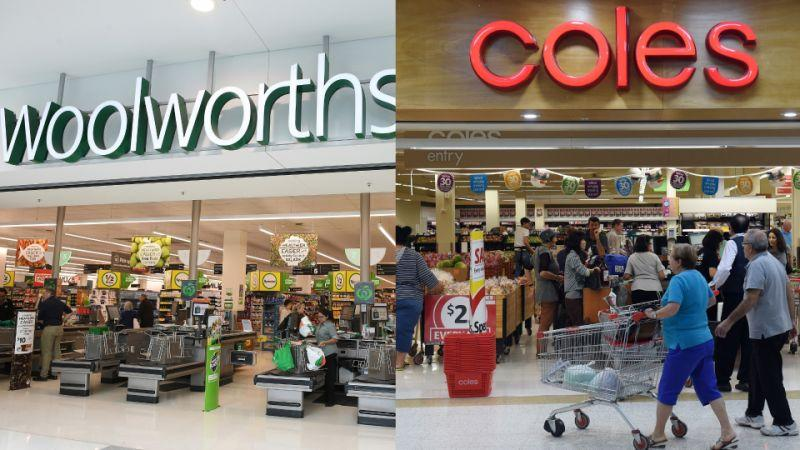 Woolworths and Coles shopfronts shown side-by-side as a composite image.