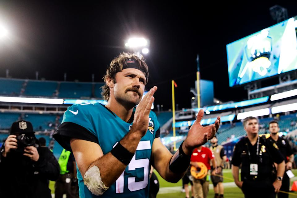 JACKSONVILLE, FLORIDA - SEPTEMBER 19: Jacksonville Jaguars quarterback Gardner Minshew II 15 after defeating the Tennessee Titans at TIAA Bank Field on September 19, 2019 in Jacksonville, Florida. (Photo by Harry Aaron/Getty Images)