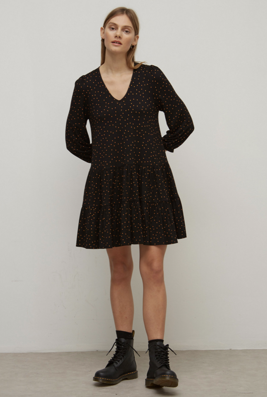 Polka Dot V-Neck Mini Smock Dress