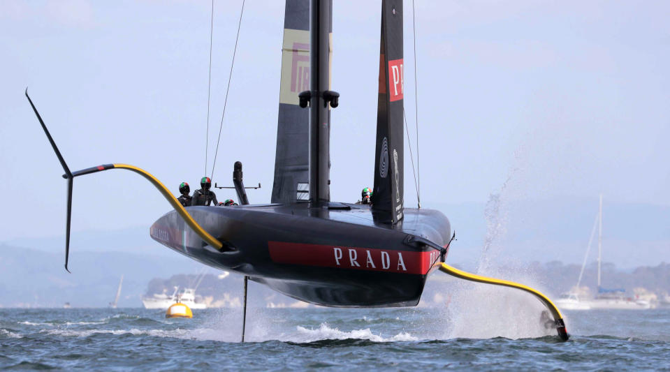 Italy's Luna Rossa yacht competes against Team New Zealand in the America's Cup World Series on the Hauraki Gulf off Auckland, New Zealand, Saturday, Dec. 19, 2020. (Michael Craig/New Zealand Herald via AP)