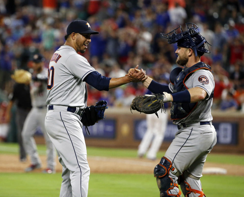Hector Rondon is getting save chances for the Houston Astros. We examine the closing landscape around baseball. (AP Photo/Michael Ainsworth)