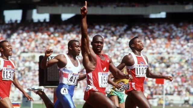 Ben Johnson crosses the line first in the 1988 Olympic 100m final