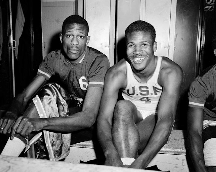 In this March 1, 1956, file photo, K.C. Jones, captain of the University of San Francisco Dons, right, is shown with teammate Bill Russell in San Francisco. (AP Photo/Robert Houston, File)