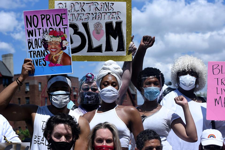 People participate in a Black Trans Lives Matter rally in the Brooklyn borough in New York City, U.S., June 14, 2020.