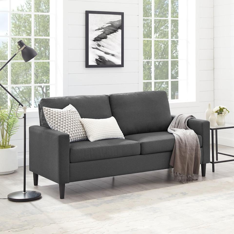 <p>We can't believe the affordable price tag on this <span>Mainstays Woven Fabric Apartment Sofa</span> ($259).</p>