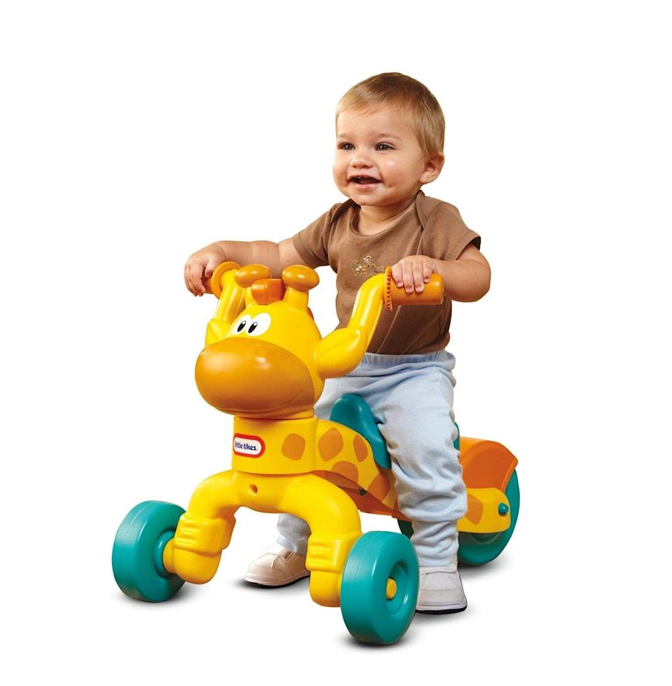 <p>Your little one can scoot all over the place with this <span>Little Tikes Go and Grow Lil' Rollin' Giraffe Ride-on</span> ($43).</p>