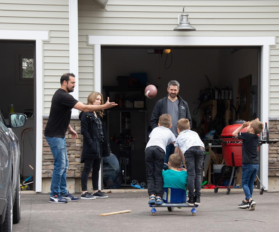 Dieppe, NB, Canada - May 3: The Frenette and Babin families have found a new norm that includes regular socializing together since the recent introduction of the two-family bubble. (Photo by Karen Stentaford for The Washington Post via Getty Images)