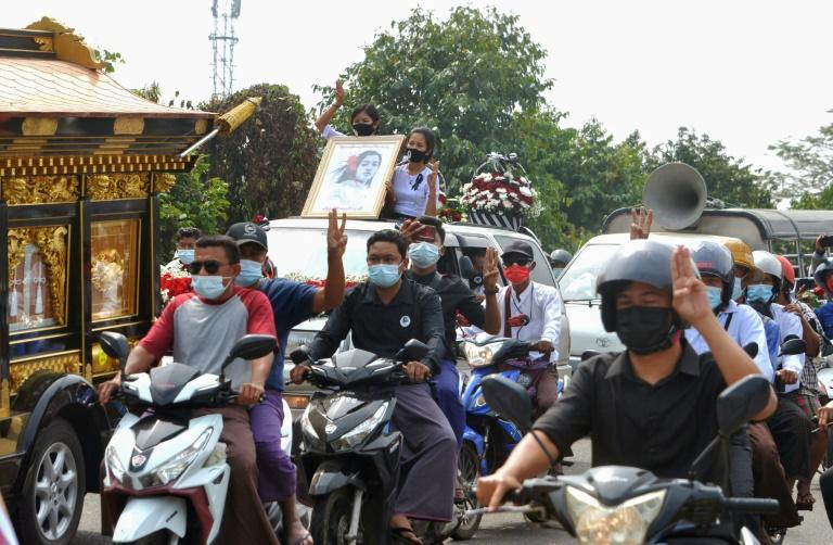 Demonstrators have in recent days hoisted photos of Mya Thwate Thwate Khaing in street marches
