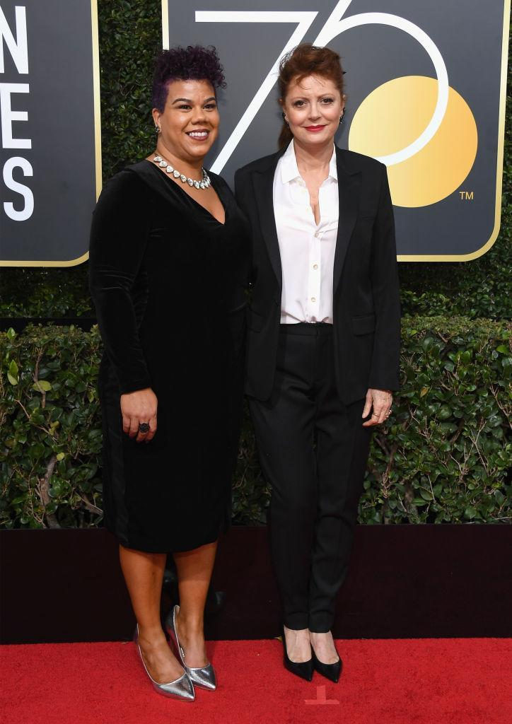 <p>Susan Sarandon with her guest, Rosa Clemente, an American community organizer, independent journalist, and hip-hop activist, attend the 75th Annual Golden Globe Awards at the Beverly Hilton Hotel in Beverly Hills, Calif., on Jan. 7, 2018. (Photo: Steve Granitz/WireImage) </p>