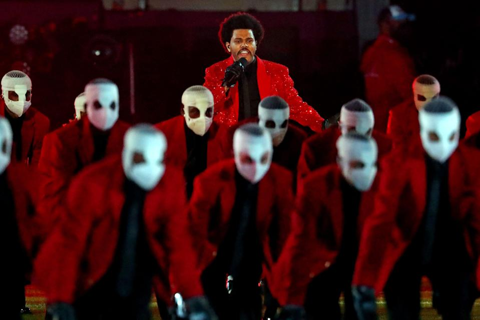 The Weeknd performs the halftime show at Super Bowl 55 at Raymond James Stadium.