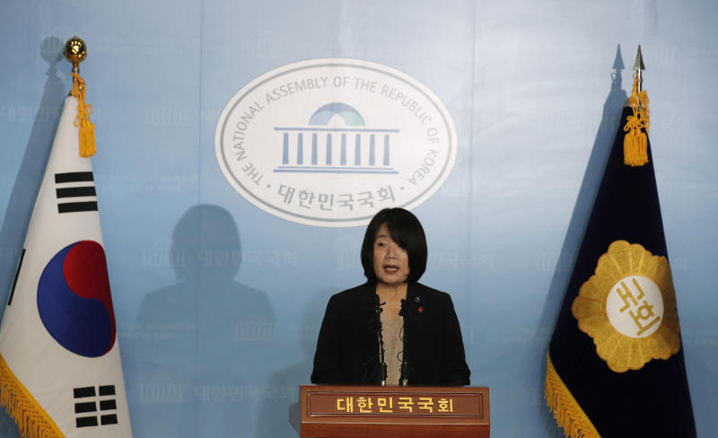 Activist Yoon Meehyang, who begins her four-year term as a lawmaker for the ruling liberal party on Saturday, speaks during a news conference at National Assembly in Seoul, South Korea, Friday, May 29, 2020. (AP Photo/Lee Jin-man)