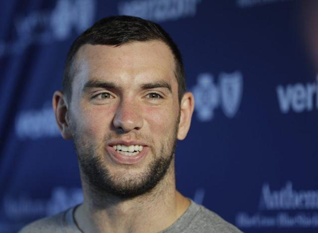 "<a class=""link rapid-noclick-resp"" href=""/nfl/players/25711/"" data-ylk=""slk:Andrew Luck"">Andrew Luck</a> said there should be no concern about the health of his shoulder. (AP)"