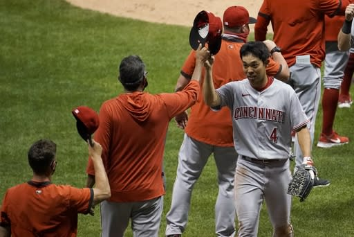 Cincinnati Reds' Shogo Akiyama celebrates after a baseball game against the Milwaukee Brewers Saturday, Aug. 8, 2020, in Milwaukee. The Reds won 4-1. (AP Photo/Morry Gash)