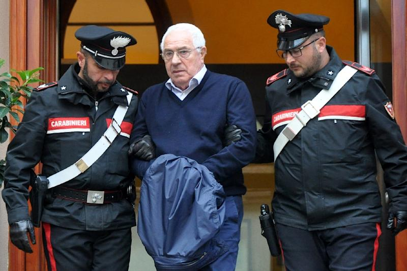 Mafia boss Settimino Mineo was held by police in Palermo after his arrest