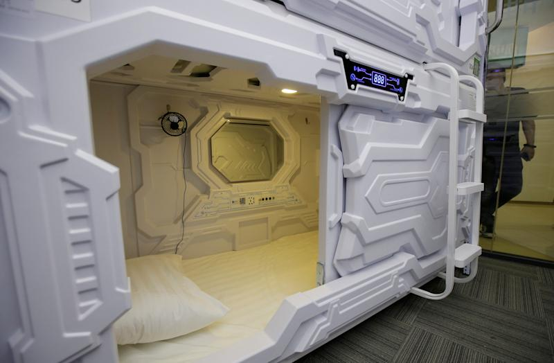 Inner view of a capsule bed unit is pictured at Xiangshui Space in Beijing