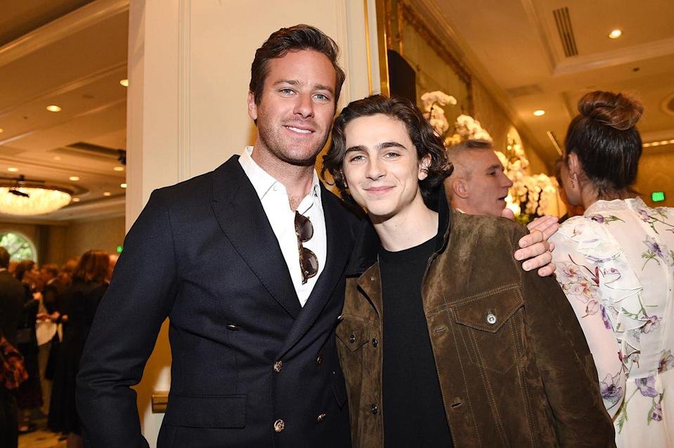 """<p>Chalamet's <i>Call Me By Your Name</i> costar has spoken glowingly of the young actor on numerous occasions, delighting fans with insight into the onscreen lovers' offscreen friendship. </p> <p>""""One of the great things about this business is you get to go to different places and meet different people and interact with people all the time,"""" Hammer said in a recent <a href=""""https://www.gq-magazine.co.uk/culture/article/armie-hammer-gq-heroes"""" rel=""""nofollow noopener"""" target=""""_blank"""" data-ylk=""""slk:GQ"""" class=""""link rapid-noclick-resp""""><i>GQ</i></a> profile. """"And now and then you meet someone or interact with someone and go, 'Hey, you're not just a work friend. You're a real friend,' and I like that,"""" he said of Chalamet, adding that the actor has """"dealt with [his meteoric rise to fame] better than I would have done at 22, 23."""" </p> <p>His appreciation of Chalamet's talent runs so deep that he was asked to <a href=""""https://variety.com/2018/film/news/armie-hammer-timothee-chalamet-1202964206/"""" rel=""""nofollow noopener"""" target=""""_blank"""" data-ylk=""""slk:write a tribute to him"""" class=""""link rapid-noclick-resp"""">write a tribute to him</a> for <em>Variety's</em> 2018 <i>New Power of New York </i>list<i>, </i>in which he remarked on """"his metamorphosis from a young, quirky and beautiful boy (pardon the pun) to a savvy, self-possessed and in-demand leading man."""" </p>"""