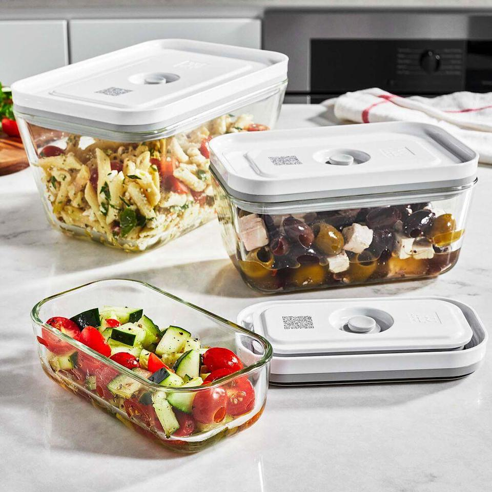 "<em>*An </em><strong><em>extra 20% off</em></strong><em> with code </em><strong><em>TART</em></strong><em> at checkout.</em><br><br><strong>Zwilling</strong> FRESH & SAVE TALL GLASS VACUUM CONTAINER, SET OF 3, $, available at <a href=""https://go.skimresources.com/?id=30283X879131&url=https%3A%2F%2Fwww.surlatable.com%2Fzwilling-fresh-save-vacuum-container-tall-3-pc%2FPRO-6588222.html"" rel=""nofollow noopener"" target=""_blank"" data-ylk=""slk:Sur La Table"" class=""link rapid-noclick-resp"">Sur La Table</a>"