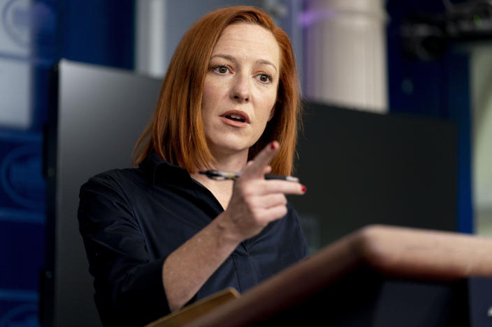 White House press secretary Jen Psaki speaks during a press briefing at the White House, Thursday, March 4, 2021, in Washington. (AP Photo/Andrew Harnik)