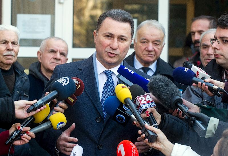 The preliminary results showed that Macedonia's former prime minister and leader of the ruling VMRO-DPMNE party Nikola Gruevski, pictured here after casting his ballot, would have 51 MPs on December 12, 2016 (AFP Photo/Robert Atanasovski)