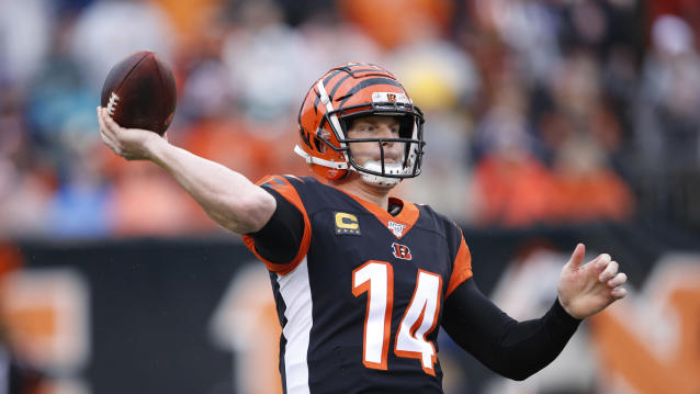 Former Cincinnati Bengals quarterback Andy Dalton joined Dallas on a backup deal. (AP Photo/Gary Landers)