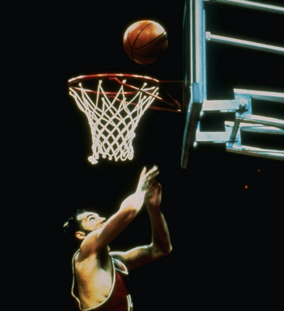 FILE - In this Sept. 10, 1972, the Soviet Union's Alexander Belov scores the winning basket to push his team past the United States 51-50 in the gold medal game at the Summer Olympics in Munich, Germany. (AP Photo/File)
