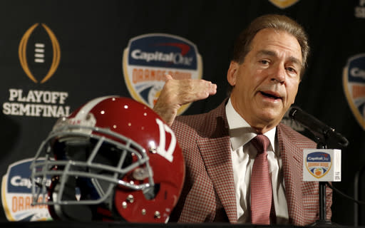 Alabama head coach Nick Saban is going for his seventh national championship on Monday. (AP)
